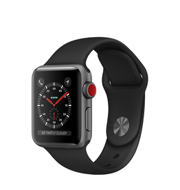 Apple Apple Watch Series 3 GPS + Cellular, 38mm Space Grey Aluminium Case with Black Sport Band