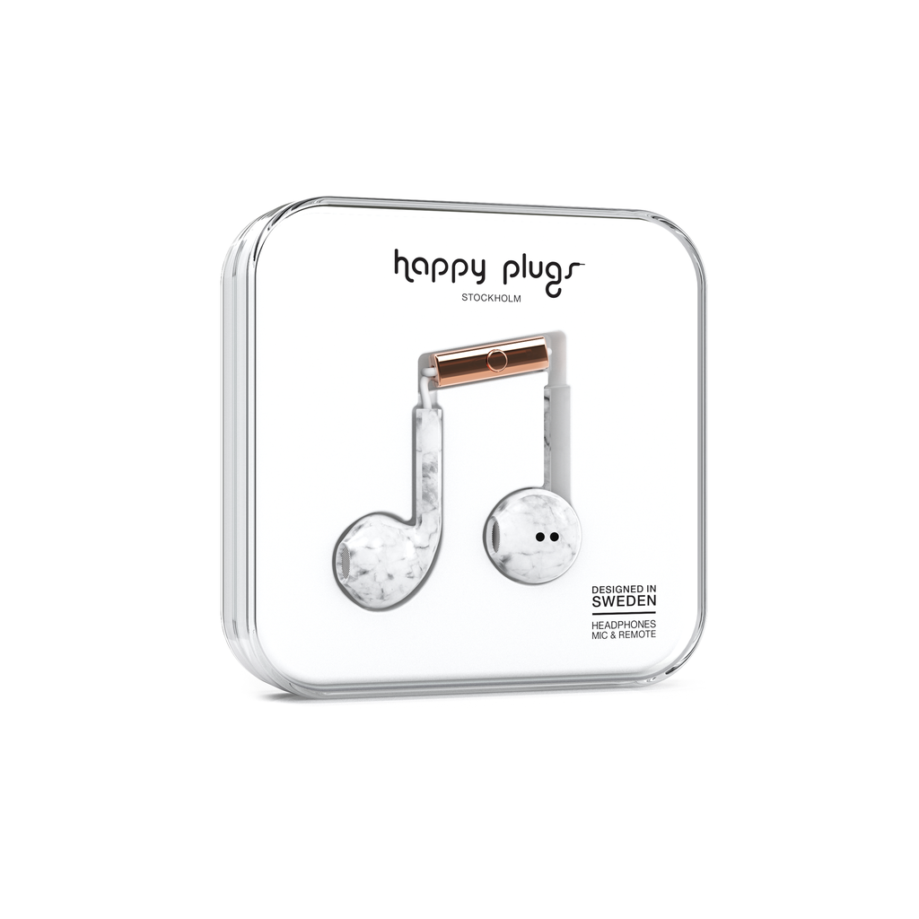 Happy Plugs Happy Plugs Earbud Plus with Remote & Mic - White Marble