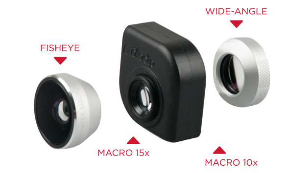 OlloClip 4-in-1 Lens for iPad Air/iPad Mini 1/2/3 - Silver / Black