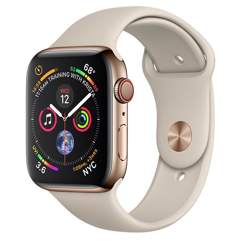 Apple AppleWatch Series4 GPS+Cellular, 44mm Gold Stainless Steel Case with Stone Sport Band