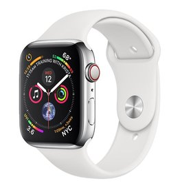 Apple Apple Watch Series 4 GPS + Cellular, 44mm Stainless Steel Case with White Sport Band