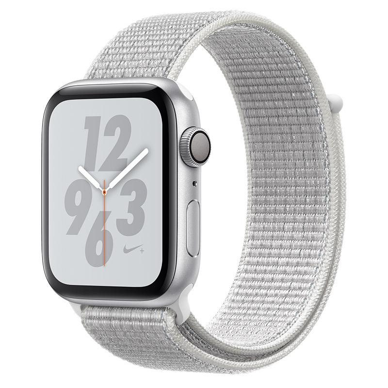 Apple AppleWatch Nike+ Series4 GPS, 44mm Silver Aluminium Case with Summit White Nike Sport Loop