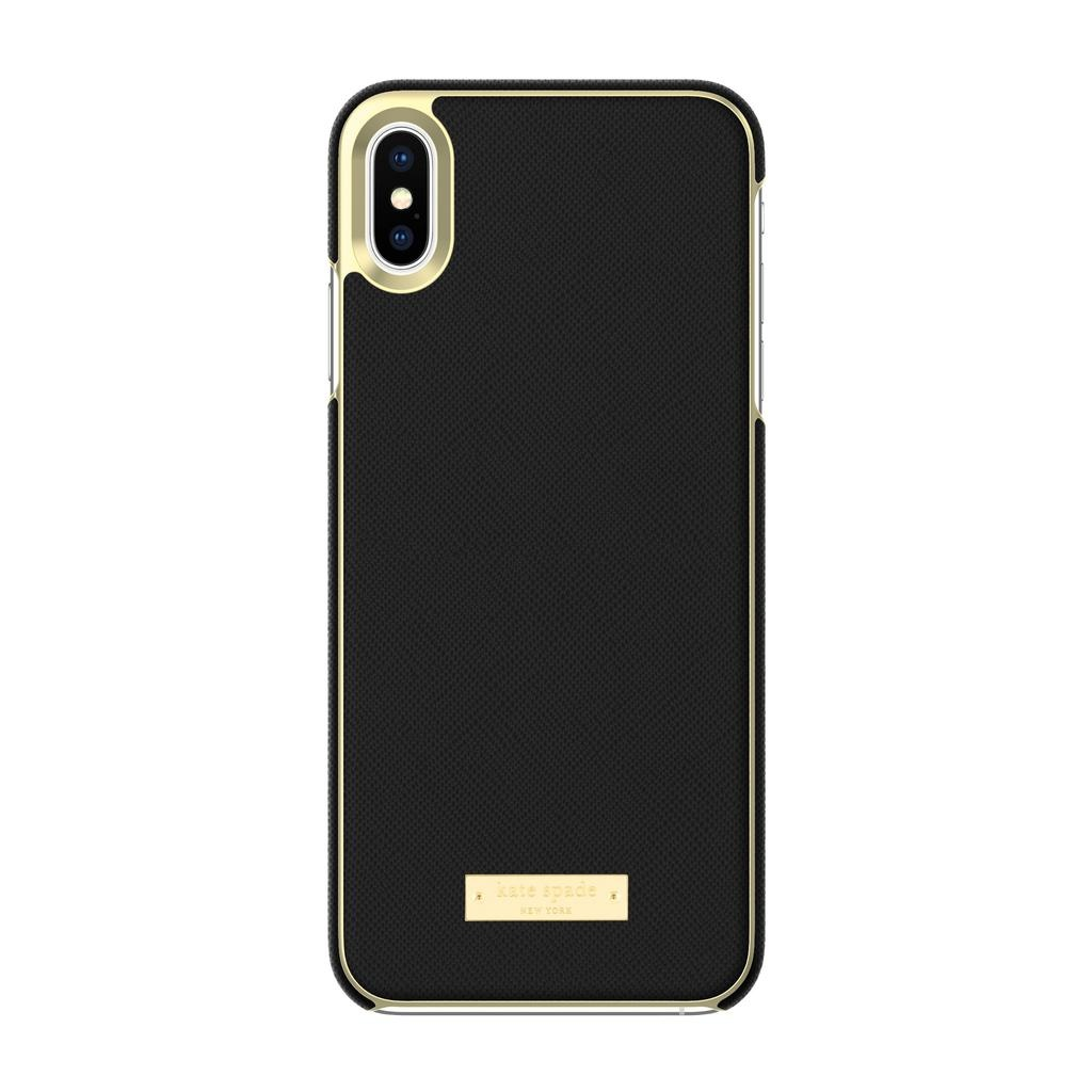 kate spade new york kate spade Wrap Case for iPhone XS Max - Saffiano Black/Gold Logo Plate