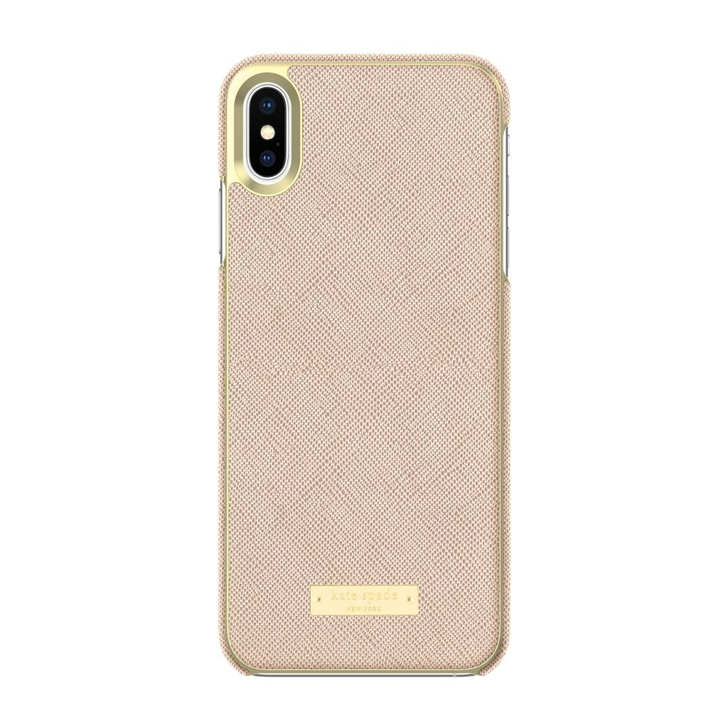 the best attitude e525e 39f55 kate spade new york kate spade Wrap Case for iPhone XS Max - Saffiano Rose  Gold/Gold Logo Plate