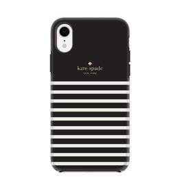 kate spade new york kate spade Hardshell Case for iPhone XR -  Feeder Stripe Black/Cream