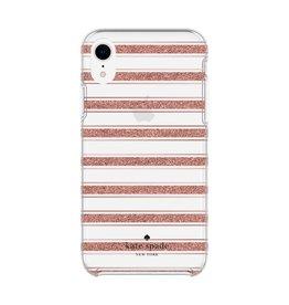 kate spade new york kate spade Hardshell Case for iPhone XR - Bold Stripe Rose Gold Glitter/Rose Gold Foil/Clear