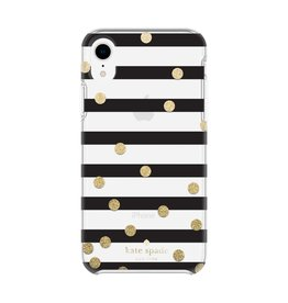 kate spade new york kate spade Hardshell Case for iPhone XR - Confetti Dot Stripe Black/Gold Glitter/Clear