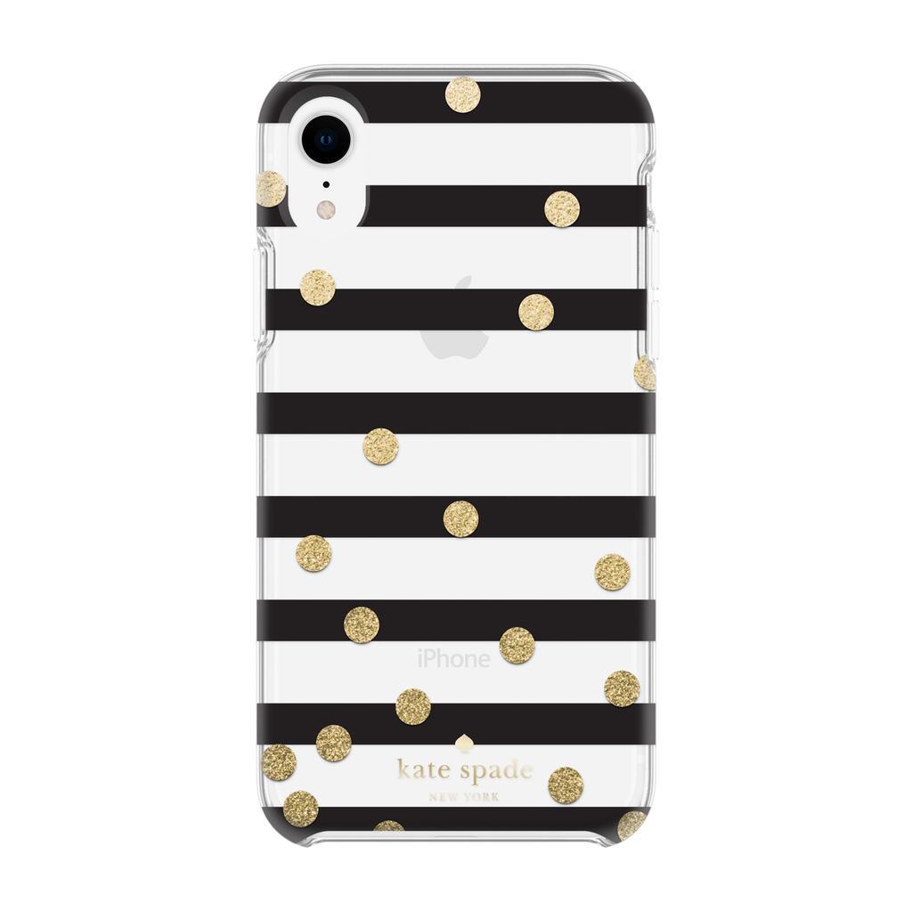 size 40 8dfc4 9bd1b kate spade new york kate spade Hardshell Case for iPhone XR - Confetti Dot  Stripe Black/Gold Glitter/Clear