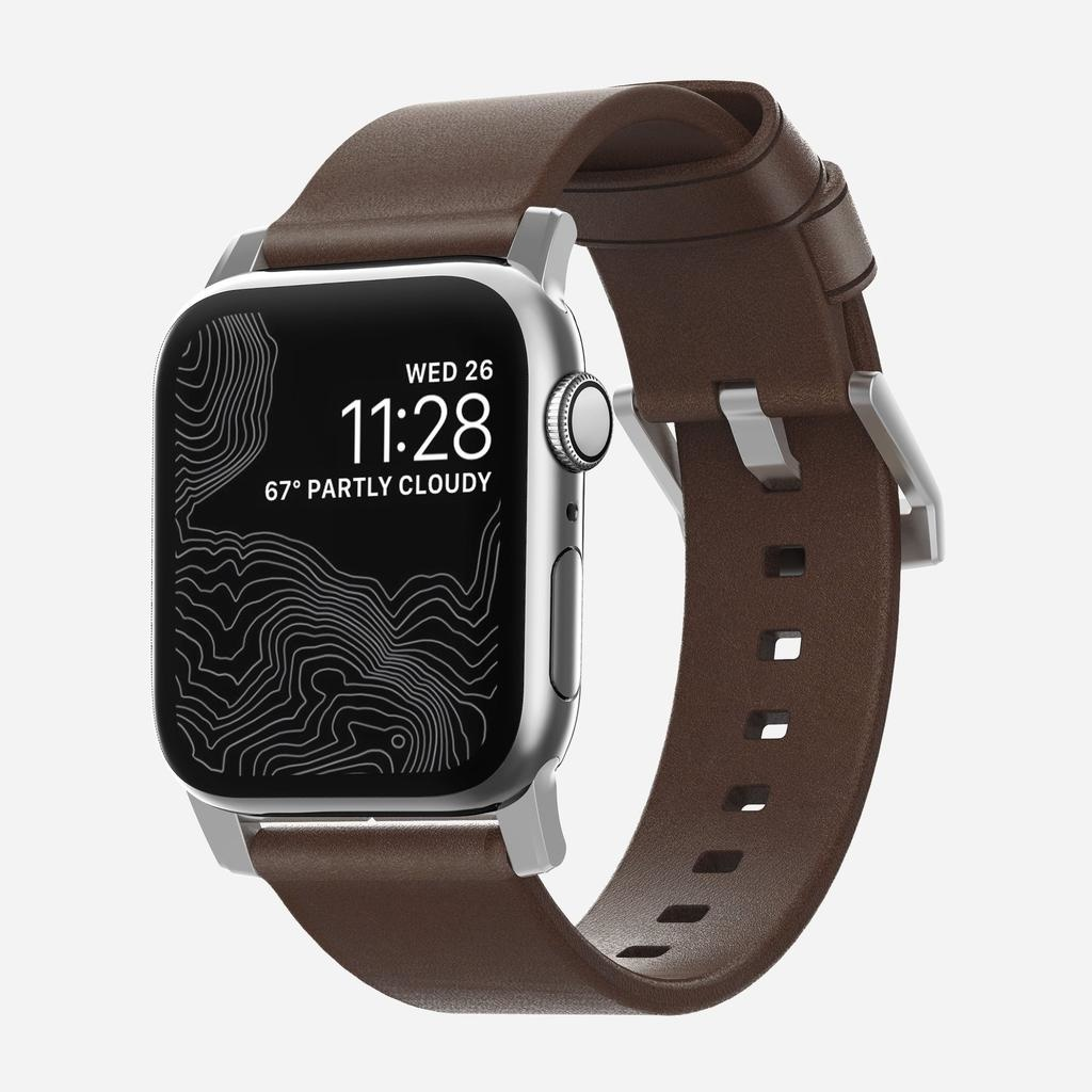 Nomad Nomad 44mm/42mm Modern Strap for Apple Watch - Silver Hardware / Brown Leather
