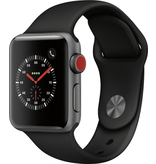 Apple AppleWatch Series3 GPS+Cellular, 38mm Space Grey Aluminium Case with Black Sport Band (Open Box)