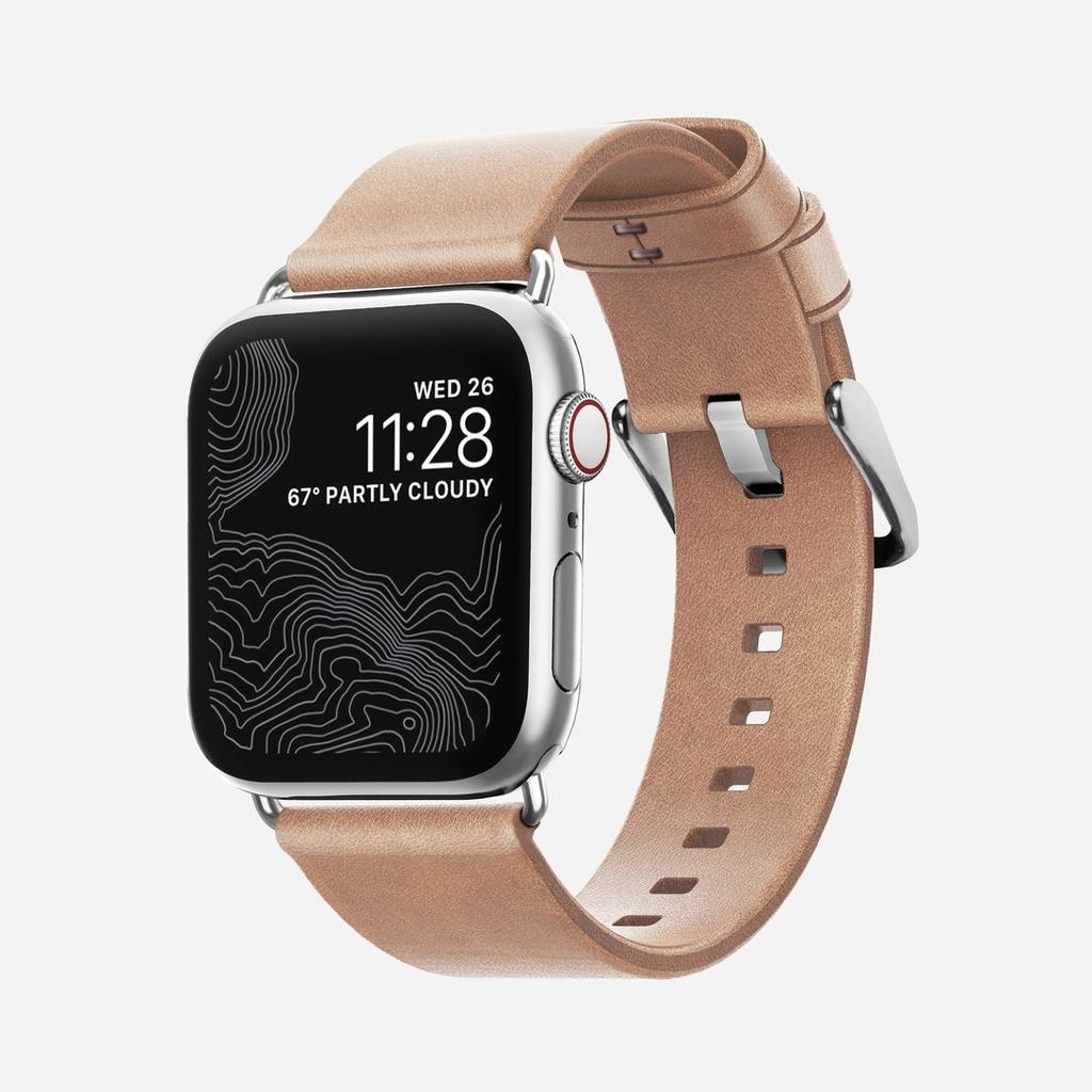 Nomad Nomad 40mm/38mm Modern Strap Slim for Apple Watch - Silver Hardware / Nude Leather