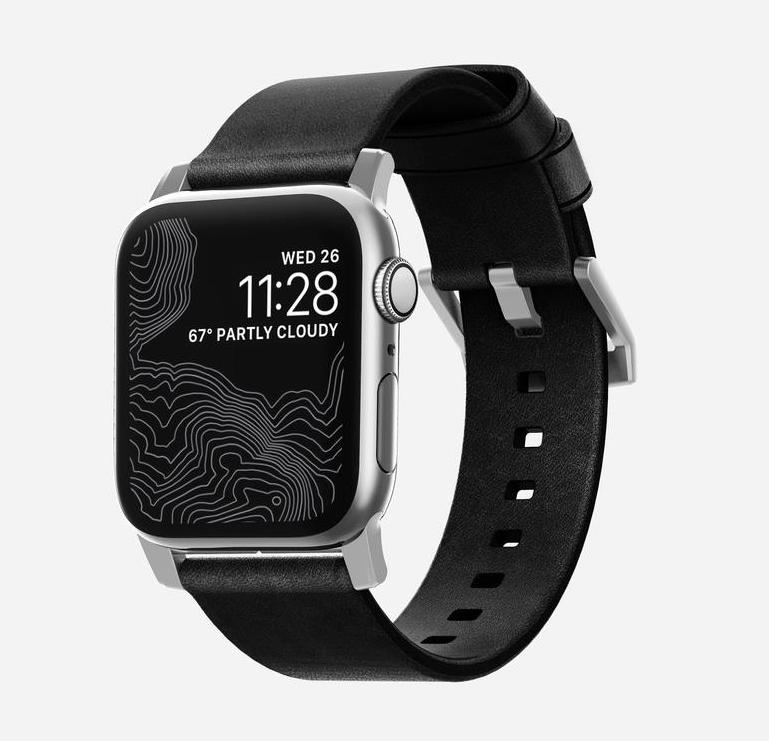 Nomad Nomad 40mm/38mm Modern Strap Slim for Apple Watch - Silver Hardware / Black Leather