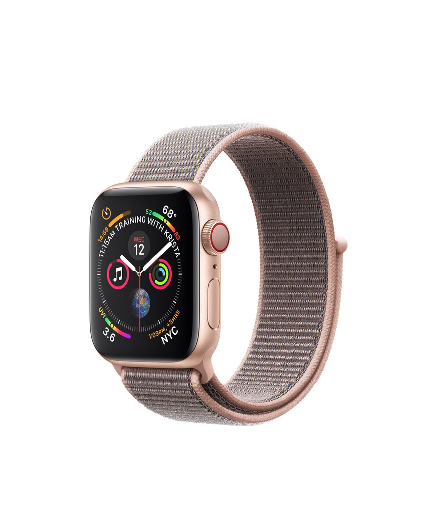 Apple AppleWatch Series4 GPS+Cellular, 44mm Gold Aluminium Case with Pink Sand Sport Loop (Open Box)