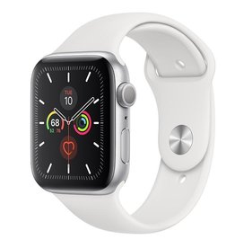 Apple Apple Watch Series 5 GPS, 44mm Silver Aluminium Case with White Sport Band