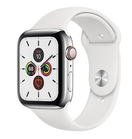 Apple Apple Watch Series 5 GPS + Cellular, 44mm Stainless Steel Case with White Sport Band