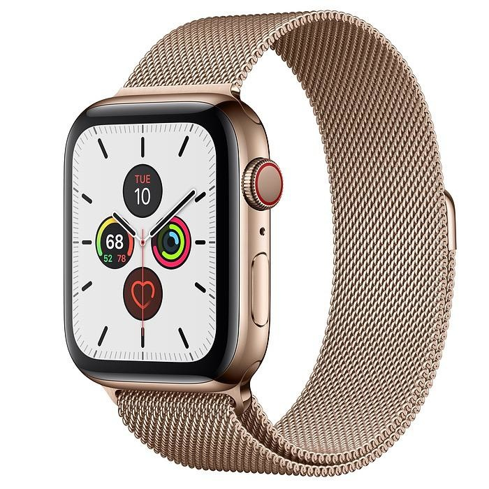 Apple Apple Watch Series 5 GPS + Cellular, 44mm Gold Stainless Steel Case with Gold Milanese Loop