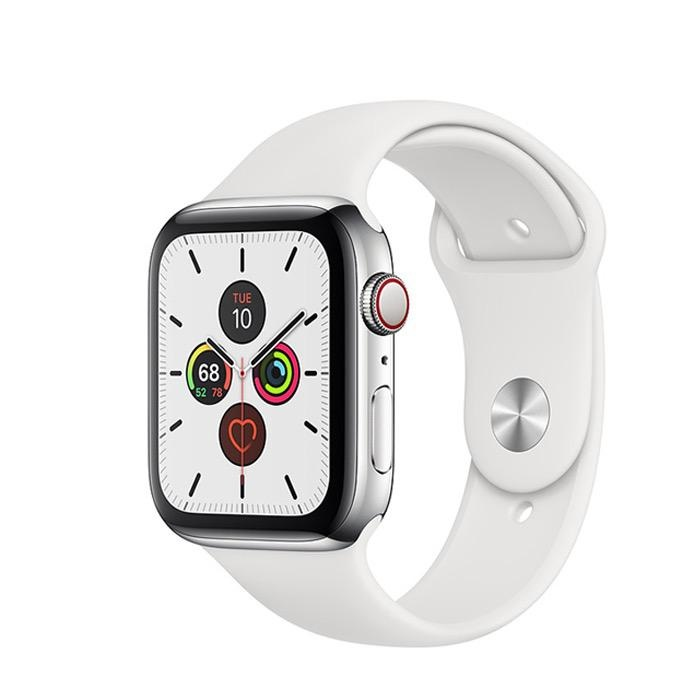Apple Apple Watch Series 5 GPS + Cellular, 40mm Stainless Steel Case with White Sport Band