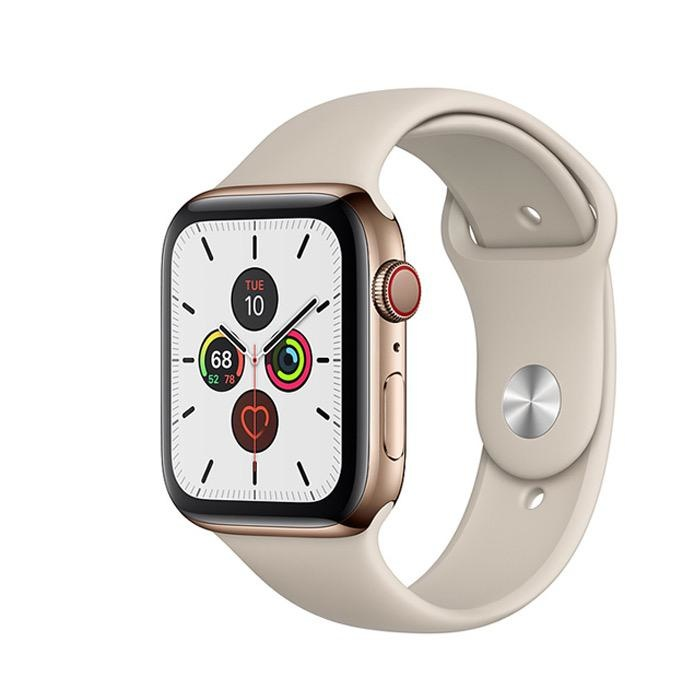 Apple Apple Watch Series 5 GPS + Cellular, 40mm Gold Stainless Steel Case with Stone Sport Band