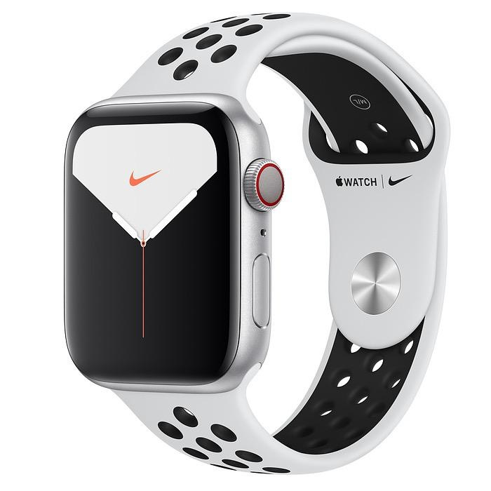 Apple Apple Watch Nike Series 5 GPS + Cellular, 44mm Silver Aluminium Case with Pure Platinum/Black Nike Sport Band