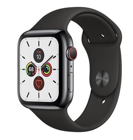 Apple Watch Series 5 GPS + Cellular, 44mm Space Black Stainless Steel Case with Black Sport Band Deposit (Non-refundable)