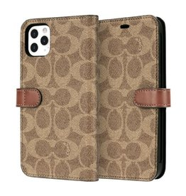 COACH COACH Leather Folio Case for iPhone 11 Pro Max - Signature C Khaki