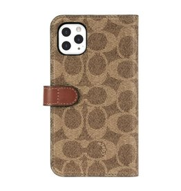 COACH COACH Leather Folio Case for iPhone 11 Pro - Signature C Khaki