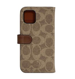 COACH COACH Leather Folio Case for iPhone 11 - Signature C Khaki