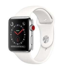 Apple Apple Watch Series 3 GPS + Cellular 42mm Stainless Steel Case with Soft White Sport Band (Open Box)