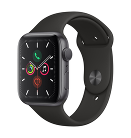 Apple Apple Watch Series 5 GPS, 44mm Space Grey Aluminium Case with Black Sport Band (Open Box)