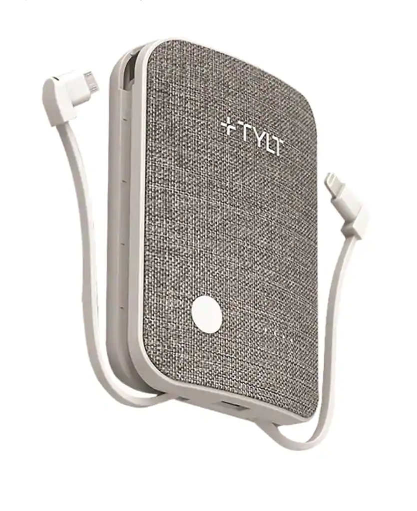 Tylt Tylt 6700mAh xcele3 Battery Pack wtih Lightning & Micro USB Cables - Grey Fabric