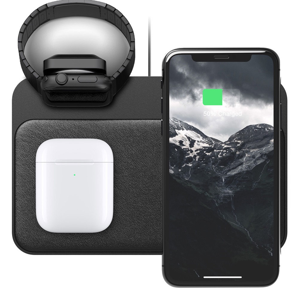 Nomad Nomad Base Station - 7.5W Wireless Qi Dual Charging Pad with Apple Watch Charger- Black