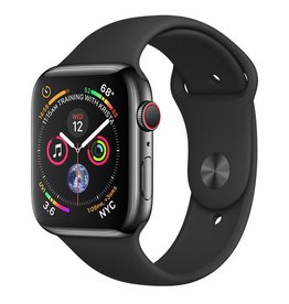 Apple AppleWatch Series4 GPS+Cellular, 44mm Space Black Stainless Steel Case with Black Sport Band