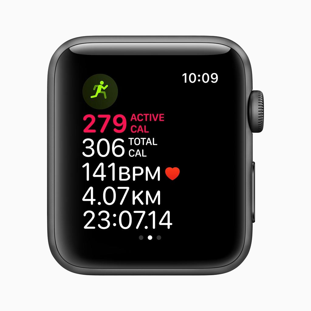 Apple Apple Watch Series 3 GPS, 42mm Space Grey Aluminium Case with Black Sport Band