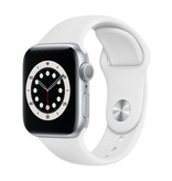 Apple Series 6 GPS, 44mm Silver Aluminium Case with White Sport Band