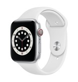 Apple Series 6 GPS + Cellular, 40mm Silver Aluminium Case with White Sport Band