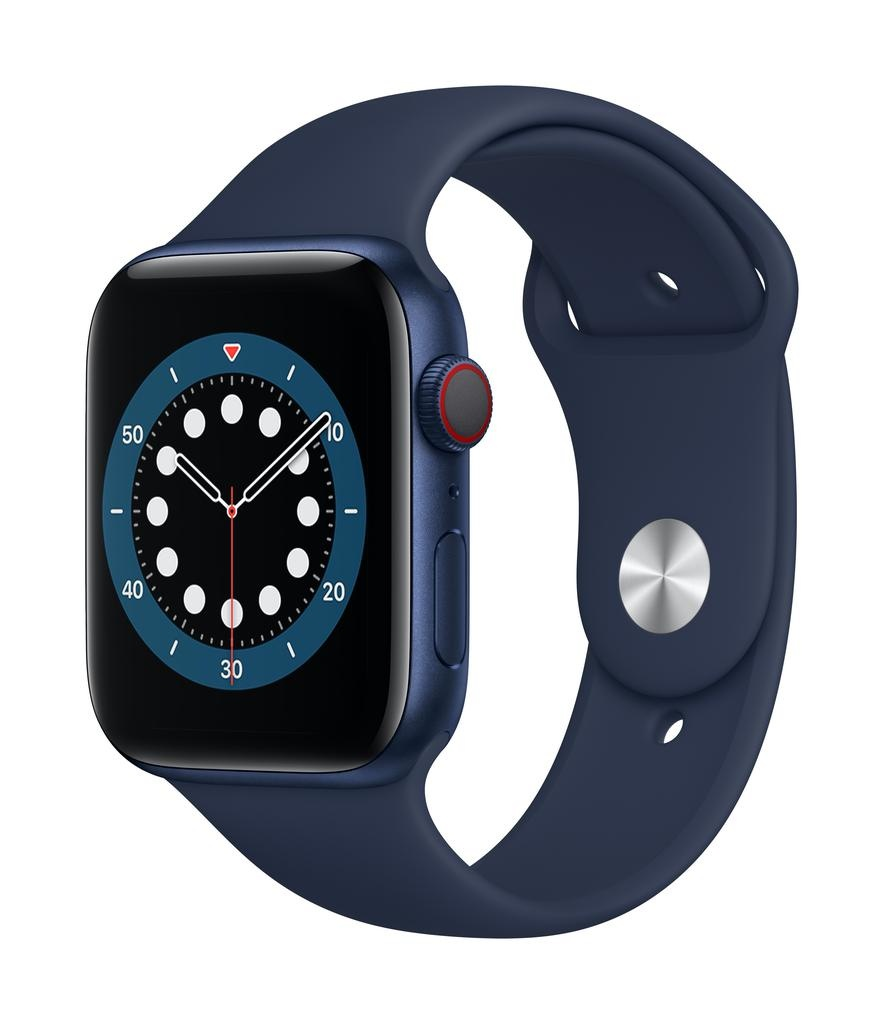 Apple Series 6 GPS + Cellular, 40mm Blue Aluminium Case with Deep Navy Sport Band