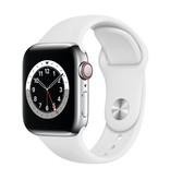 Apple Series 6 GPS + Cellular, 40mm Silver Stainless Steel Case with White Sport Band