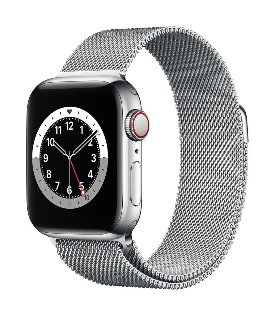 Apple Series 6 GPS + Cellular, 40mm Silver Stainless Steel Case with Silver Milanese Loop