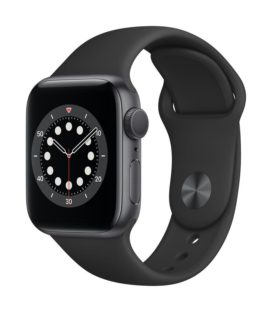 Apple Series 6 GPS, 40mm Space Gray Aluminium Case with Black Sport Band