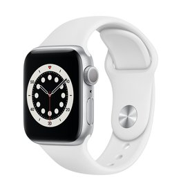 Apple Series 6 GPS, 40mm Silver Aluminium Case with White Sport Band