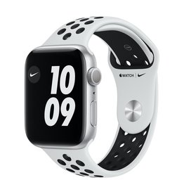 Apple Nike Series 6 GPS, 40mm Silver Aluminium Case with Pure Platinum/Black Nike Sport Band