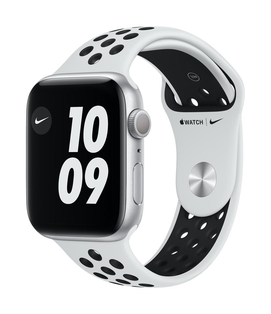 Apple Nike Series 6 GPS, 40mm Silver Aluminium Case with Pure Platinum/Black Nike Sport Band