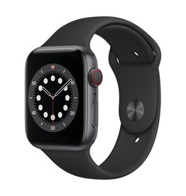 Apple Series 6 GPS + Cellular, 44mm Space Grey Aluminium Case with Black Sport Band