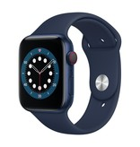 Apple Series 6 GPS + Cellular, 44mm Blue Aluminium Case with Deep Navy Sport Band