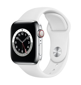 Apple Series 6 GPS + Cellular, 44mm Silver Stainless Steel Case with White Sport Band
