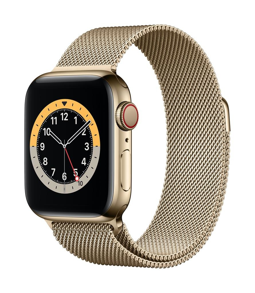 Apple Series 6 GPS + Cellular, 40mm Gold Stainless Steel Case with Gold Milanese Loop