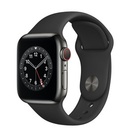 Apple Series 6 GPS + Cellular, 40mm Graphite Stainless Steel Case with Black Sport Band