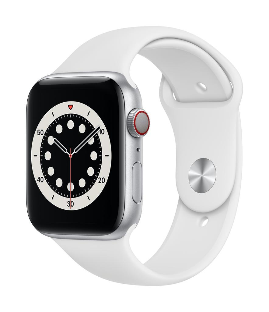Apple Series 6 GPS + Cellular, 44mm Silver Aluminium Case with White Sport Band