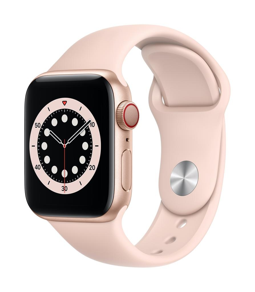 Apple Series 6 GPS + Cellular, 44mm Gold Aluminium Case with Pink Sand Sport Band