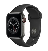 Apple Series 6 GPS + Cellular, 44mm Graphite Stainless Steel Case with Black Sport Band